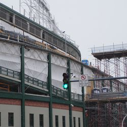 The Addison Street side. Work visible along the outside of the upper deck