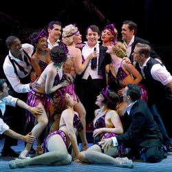 """In this publicity photo provided by Boneau/Bryan-Brown, Matthew Broderick, center, and the cast of the new musical comedy """"Nice Work If You Can Get It"""" perform at Broadway's Imperial Theatre in New York."""
