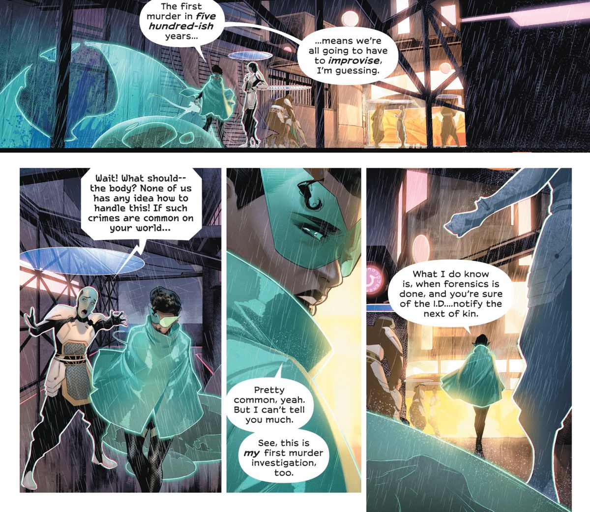 Green Lantern Sojourner Mullein begins to investigate the first murder on the City Enduring in 500 years, in Far Sector #1, DC Comics (2019).