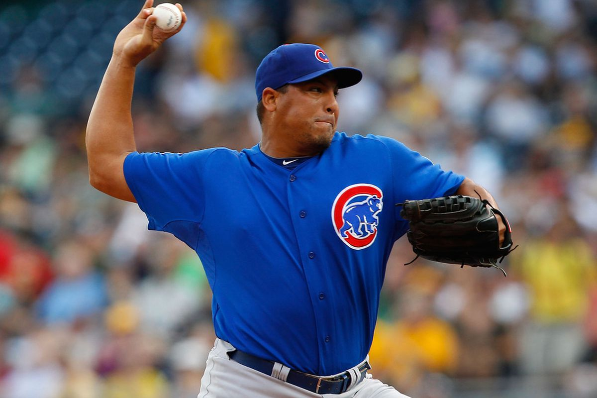 Carlos Zambrano  of the Chicago Cubs pitches against the Pittsburgh Pirates during a game at PNC Park in Pittsburgh, Pennsylvania.  (Photo by Jared Wickerham/Getty Images)