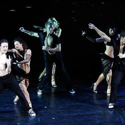 Kevin Clifton, left, Giselle Peacock, Damian Whitewood, Peta Murgatroyd, Sharna Burgess and Patrick Helm dance.