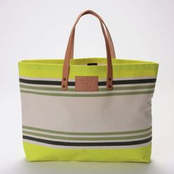"""<b>Will Leather Goods</b> Bright Stripe Carry All at <b>Crush Boutique</b>, <a href=""""http://www.shopcrushboutique.com/handbags/will-leather-goods-bright-stripe-carry-all-in-multi-green.html"""">$98</a>"""