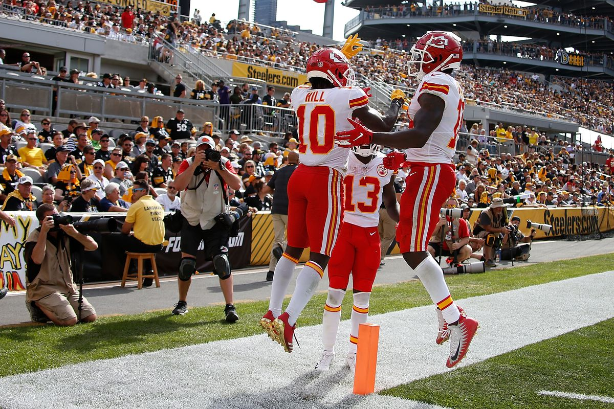 Tyreek Hill of the Kansas City Chiefs celebrates with Sammy Watkins after a 29 yard touchdown reception in the fourth quarter during the game against the Pittsburgh Steelers at Heinz Field on September 16, 2018 in Pittsburgh, Pennsylvania.
