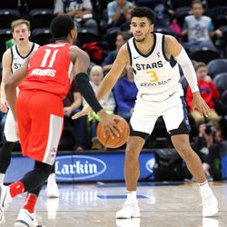 Rio Grande Valley Vipers' Monte Morris (No. 11) and Salt Lake City Stars' Naz Mitrou-Long (No. 3), who were former Iowa State teammates, compete in an NBA G league basketball game at the Vivint Smart Home Arena in Salt Lake City on Monday, Nov. 27, 2017.