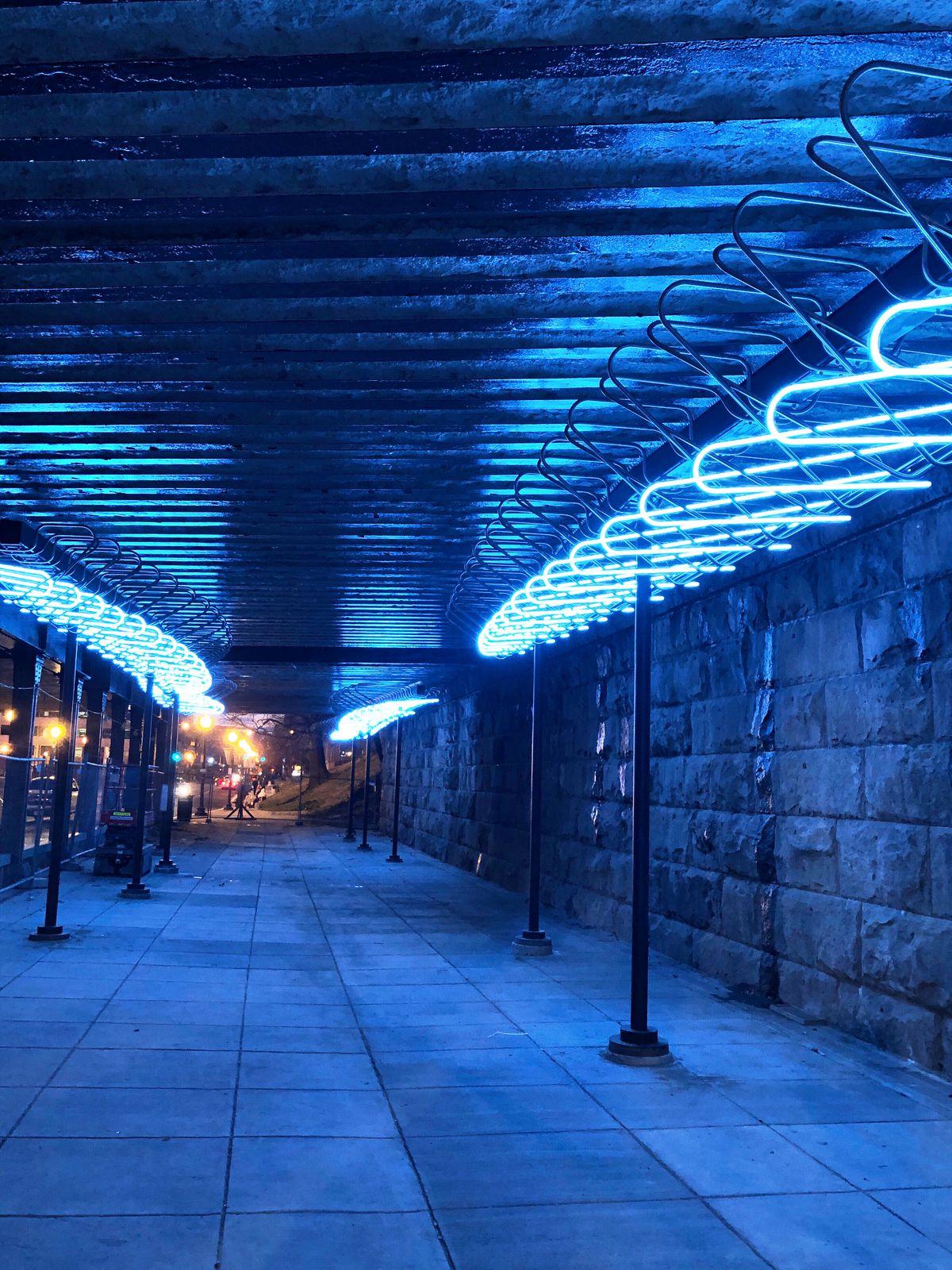 D C Public Art Noma Rail Underp Lights Up For