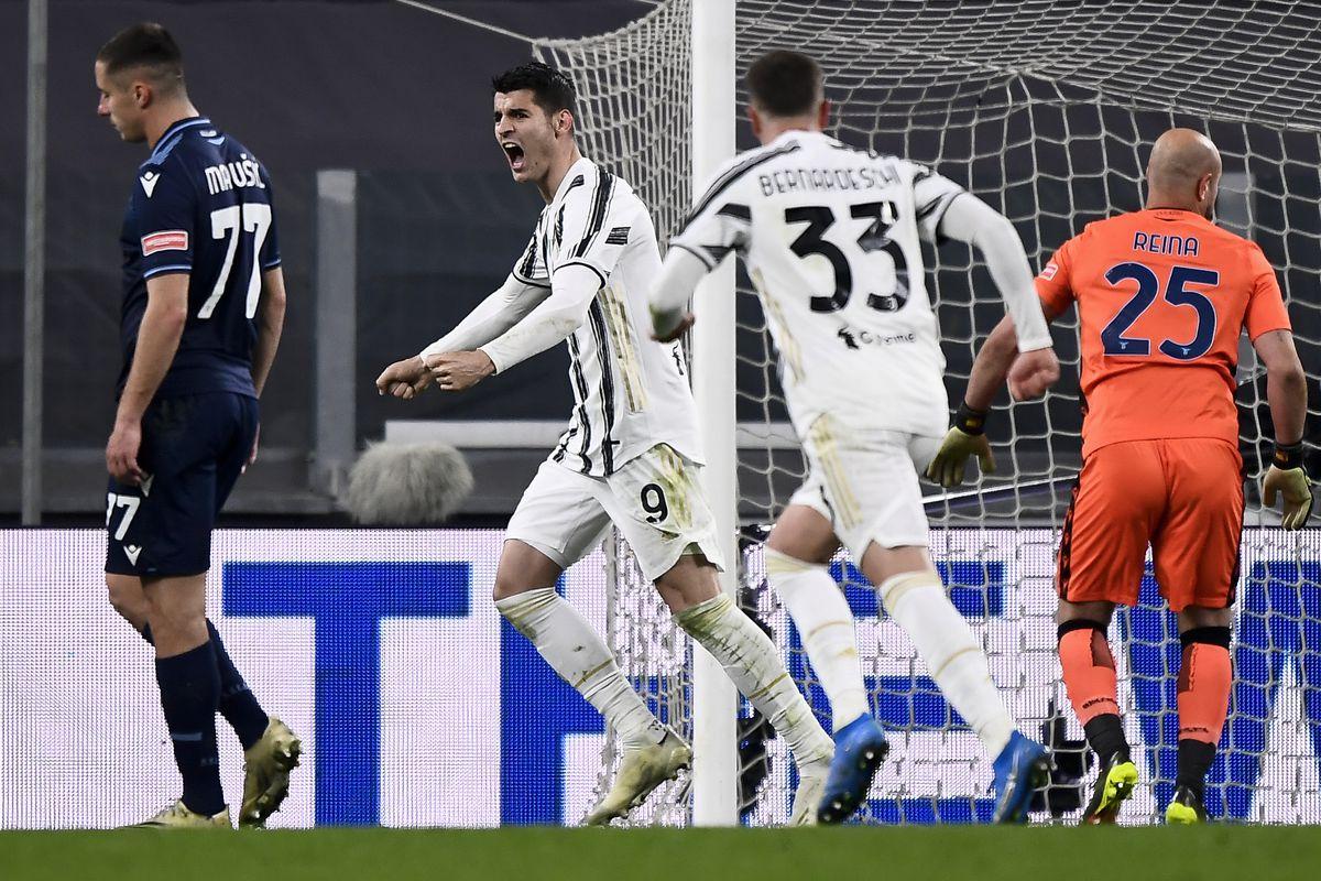 Alvaro Morata (C) of Juventus FC celebrates after scoring a...