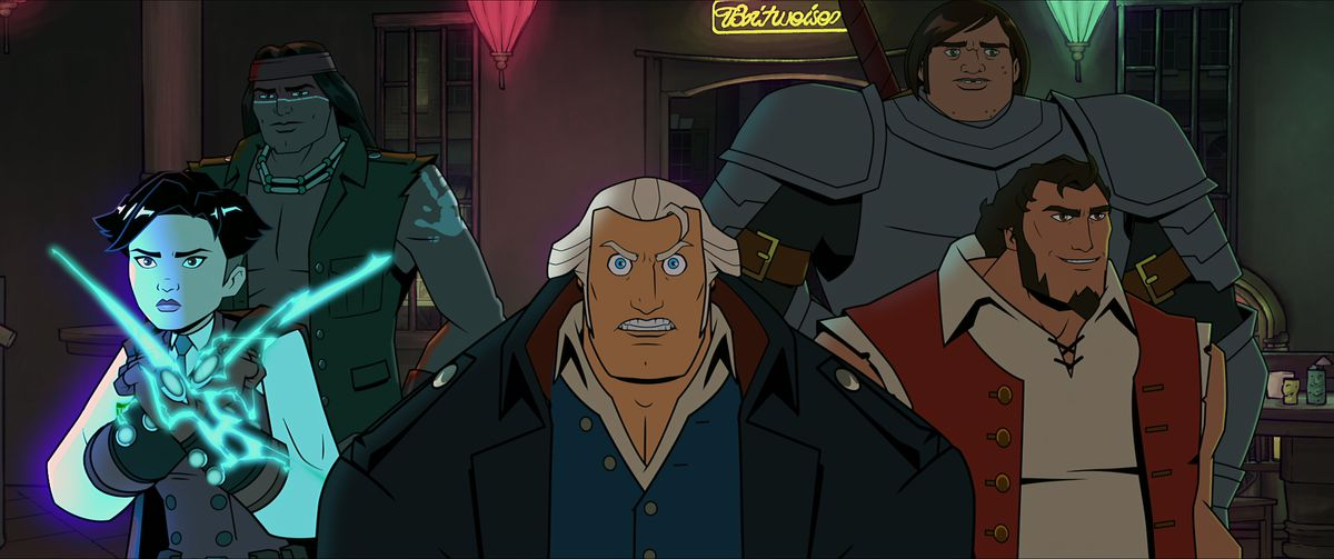 America, The Motion Picture's Thomas Edison, Geronimo, George Washington, Paul Revere, and Samuel Adams in an action-team pose in front of a neon bar sign