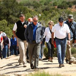 Interior Secretary Ryan Zinke and other hike to an overlook in the Butler Wash area of the Bears Ears National Monument to view ancient ruins on Monday, May 8, 2017.