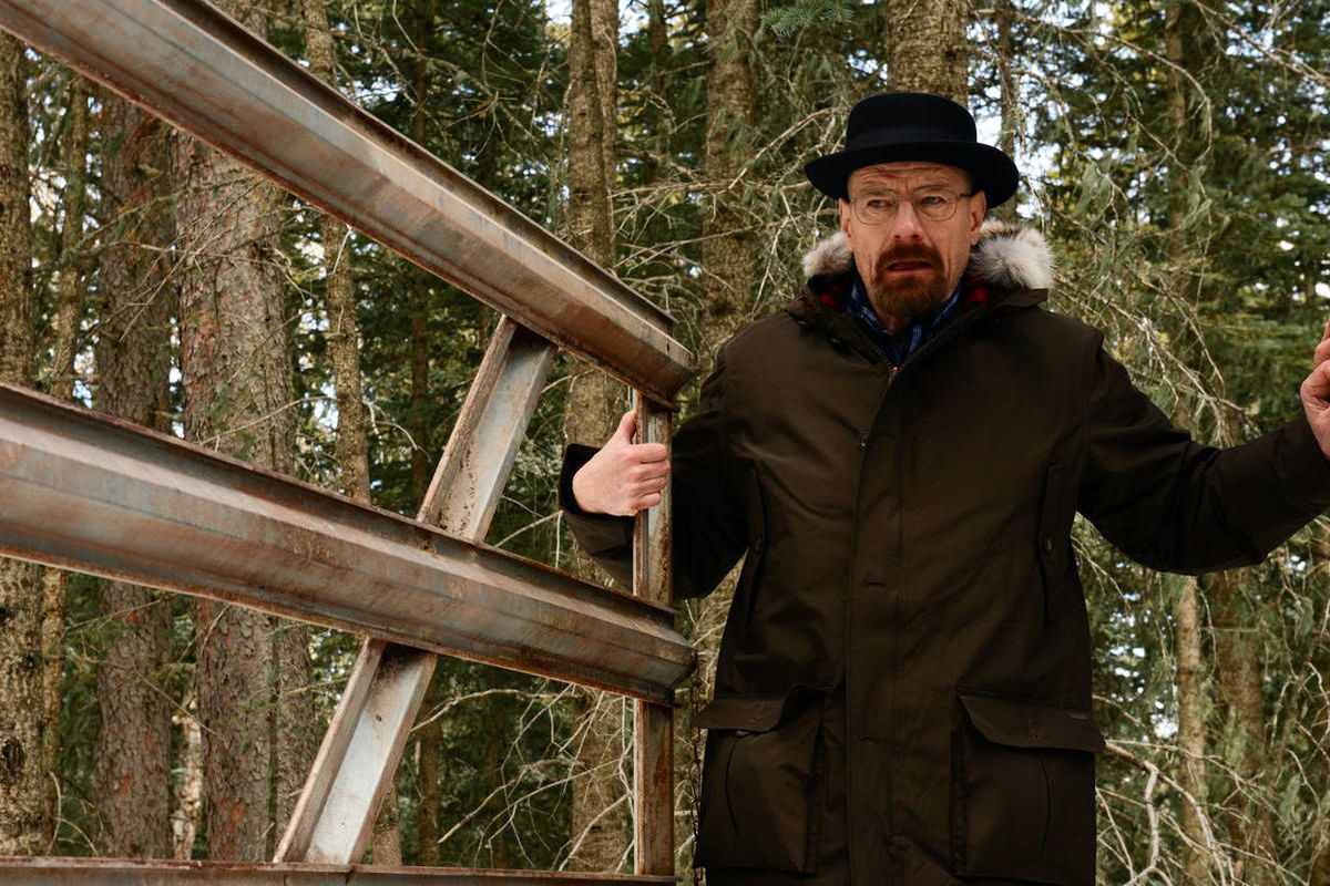 """Walter White, played by Bryan Cranston, hiding out in the woods of New Hampshire in a scene from season five of """"Breaking Bad."""""""