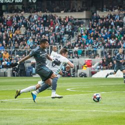 Ethan Finlay goes down in the box during the first half of Minnesota United inaugural match at Allianz Field