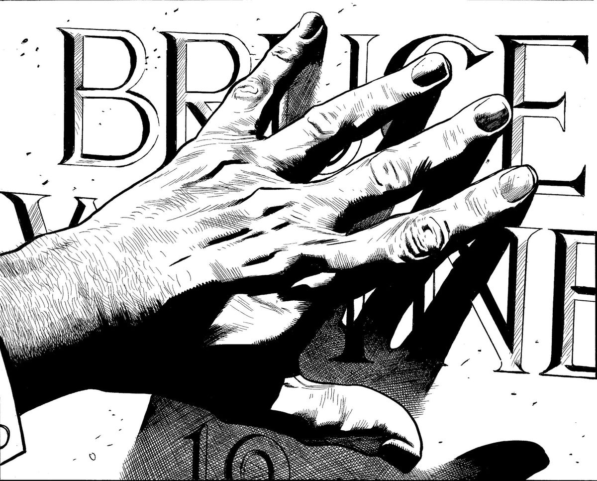 Alfred's hand brushes the engraved letters of 'Bruce Wayne' on Batman's future gravestone in the Wayne family plot, in unfinished art from The Batman's Grave, DC Comics (2019).