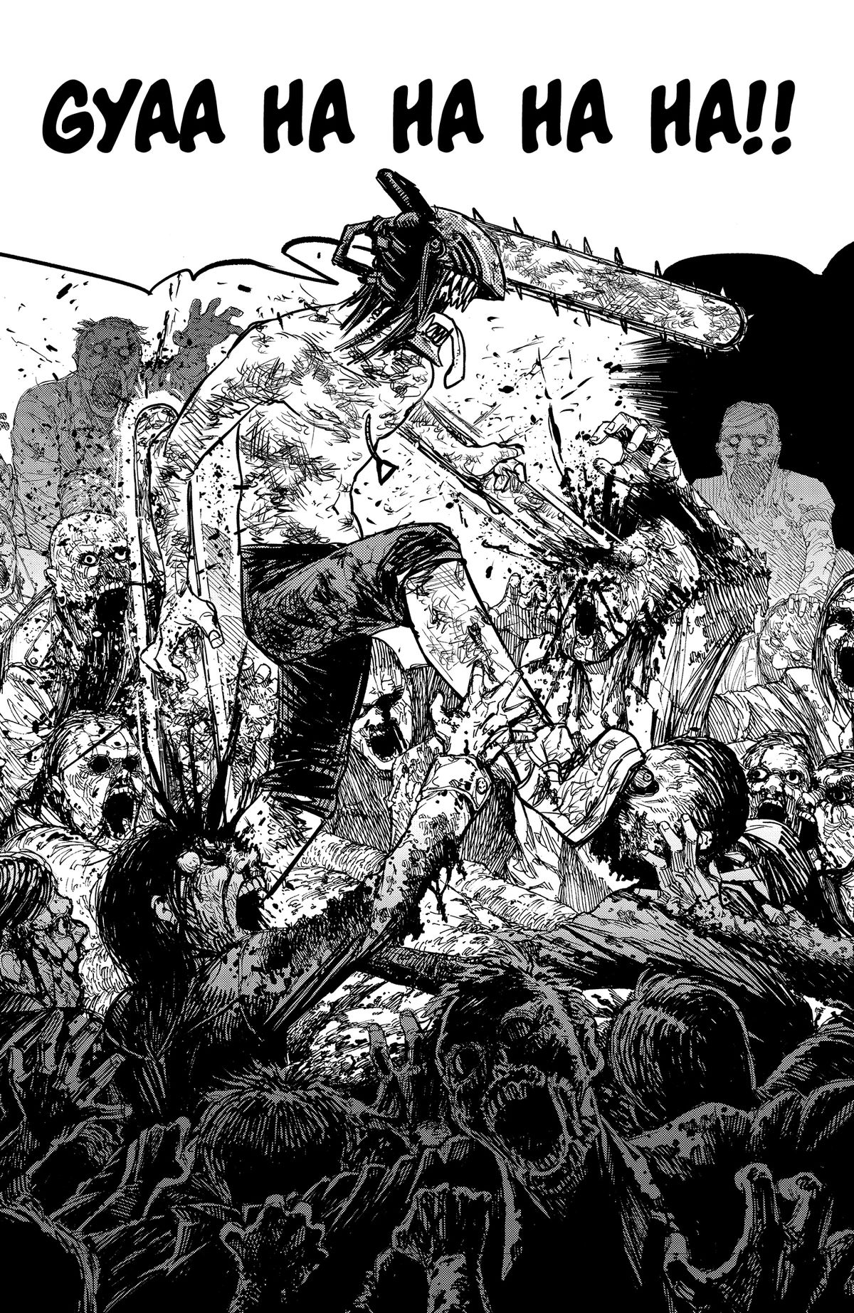 Denji, a man with a chainsaw for a head with other chainsaws attached to his arms, rips through dozens of zombies, spraying blood everywhere in Chainsaw Man volume 1.