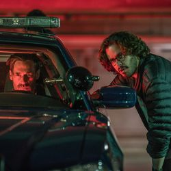 """Director Edgar Wright and Jon Hamm on the set of """"Baby Driver."""""""
