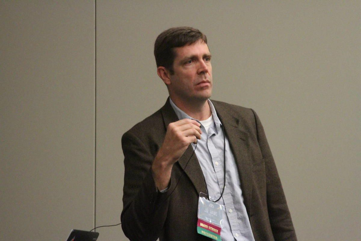 J.B. Haws, BYU professor, speaks to a session of the Mormon History Association Conference at the Utah Valley Convention Center in Provo, Utah, June 6, 2015.