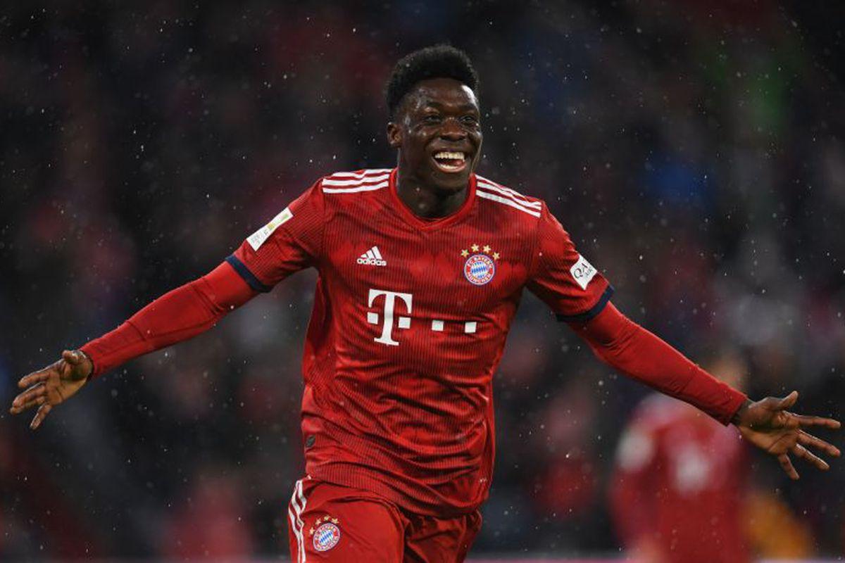 Alphonso Davies scores his first for Bayern Munich