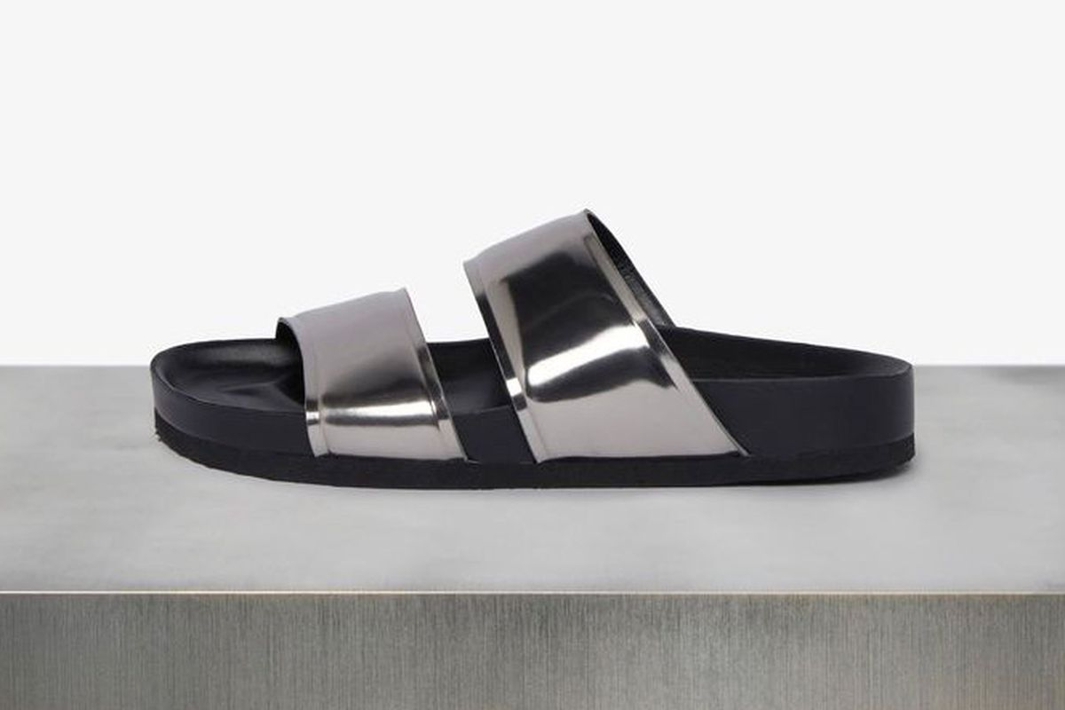 "Vince Orion metallic sandal, <a href=""http://www.vince.com/orion-metallic-sandal/invt/vnd2525l3&amp;color=Pewter&amp;bklist=icat,5,,accessories,wtopfootwear,wshoesall"">$195</a>."