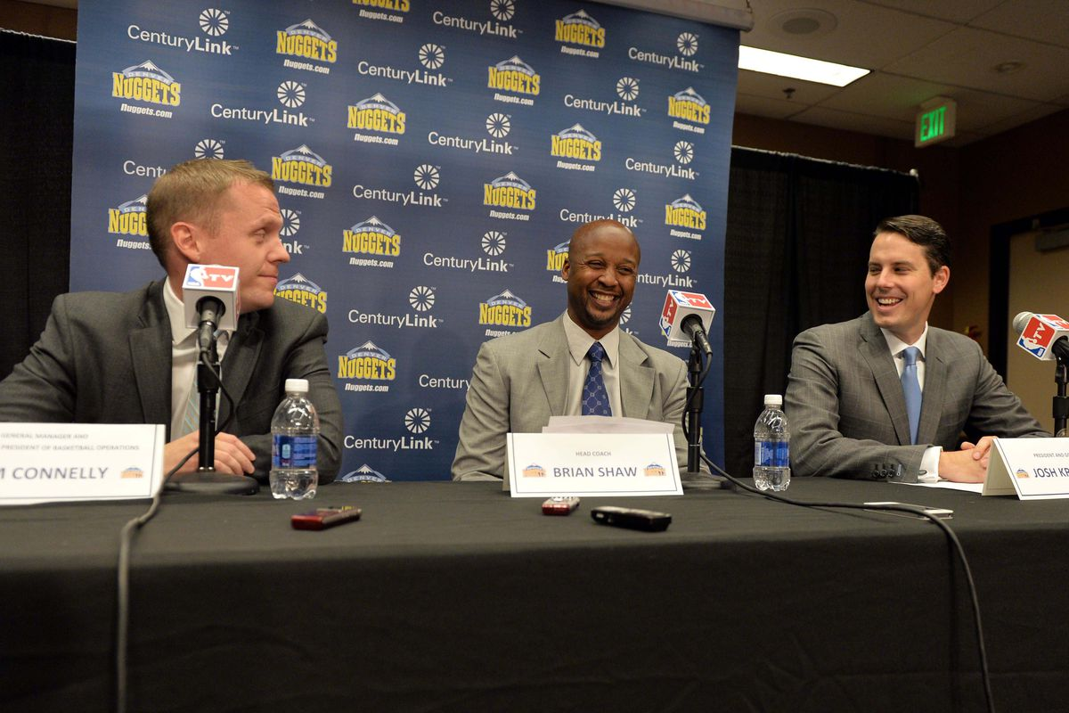 When the spotlight was kinder. Tim Connelly, Brian Shaw, and Josh Kroenke.