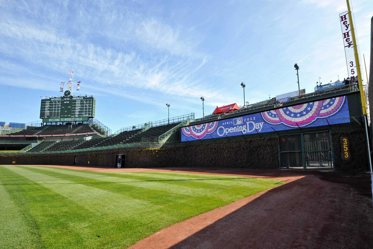 April 5, 2012; Chicago, IL, USA; A general view of a new digital scoreboard in right field before the opening day game between the Chicago Cubs and the Washington Nationals at Wrigley Field.  Mandatory Credit: Rob Grabowski-US PRESSWIRE