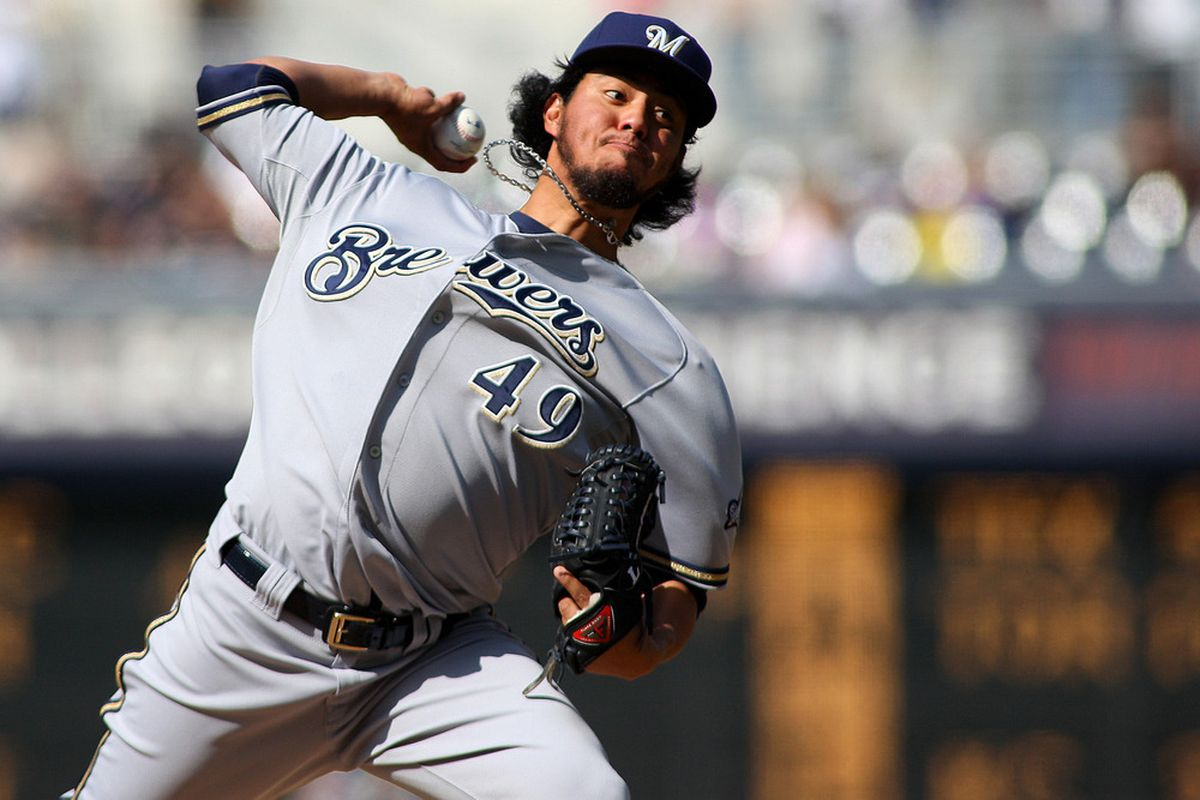 May 2, 2012; San Diego, CA, USA; Milwaukee Brewers starting pitcher Yovani Gallardo (49) pitches during the second inning against the San Diego Padres at PETCO Park.  Mandatory Credit: Jake Roth-US PRESSWIRE