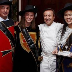 """Boulud bought the duck press he uses at Daniel from these merry folks.  He just had to trade them a few magic beans.(<a href=""""http://www.bocusedorusa.org/mainsite/nov-18th-fall-game-feast-at-daniel's-with-ariane-daguin/"""" rel=""""nofollow"""">photo</a>)"""