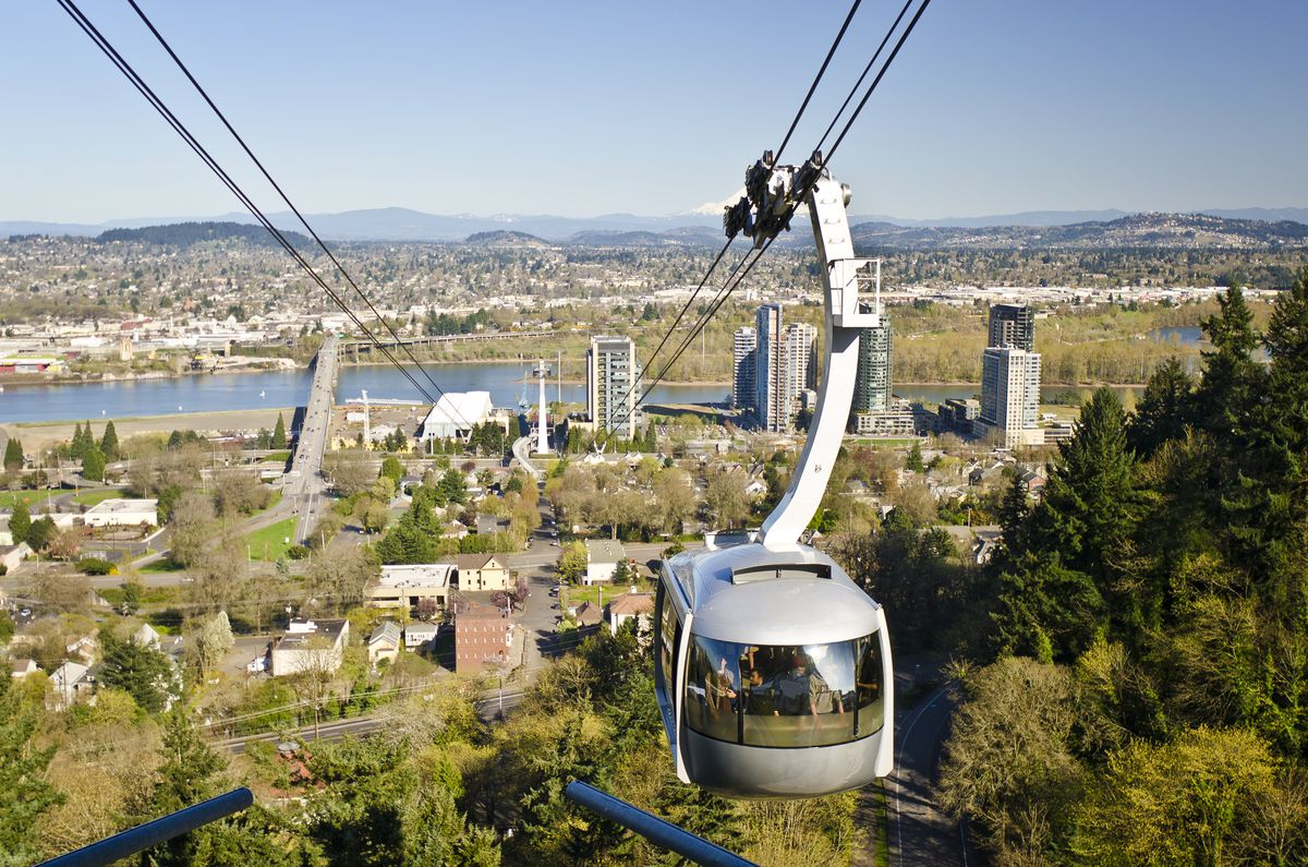 An aerial view of the Portland Aerial Tram in Oregon. The tram is silver and is on a cable above trees. In the distance are houses and a body of water.