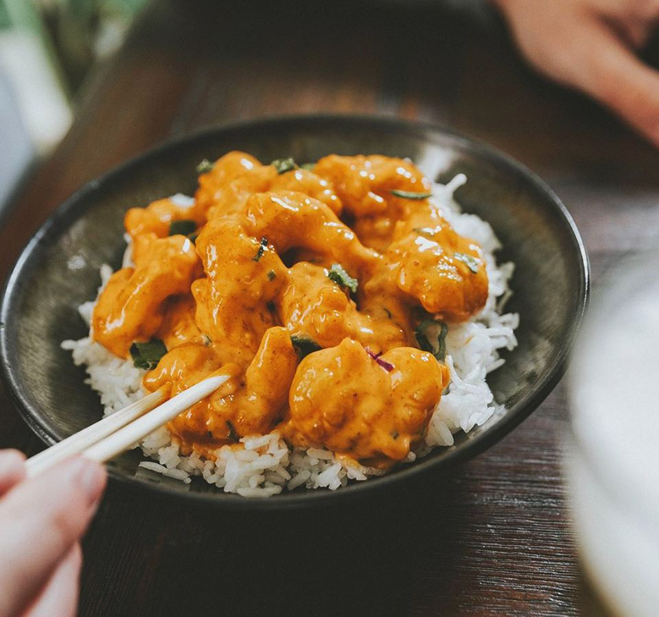 """""""Dynamite shrimp""""over rice, available for takeout and delivery at P.F. Chang's"""