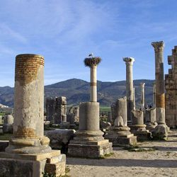 This Thursday, March 8, 2012 photo shows pillars near the center of Volubilis, Morocco's premier Roman ruins near Meknes, Morocco. The site of Volubilis is one of the best preserved sites in Morocco and most visited.