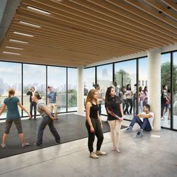 A rendering of a sample classroom planned for the Steppenwolf Theatre's renovation. | Adrian Smith + Gordon Gill (provided)