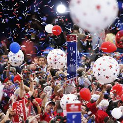 Balloons fall on the Utah delegation  during the final night of the National Republican Convention in Cleveland on Thursday, July 21, 2016.