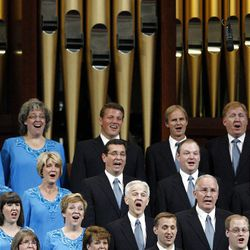 The Mormon Tabernacle Choir performs during the morning session of the182nd Semiannual General Conference for The Church of Jesus Christ of Latter-day Saints in the Conference Center in Salt Lake City on Saturday, Oct. 6, 2012.