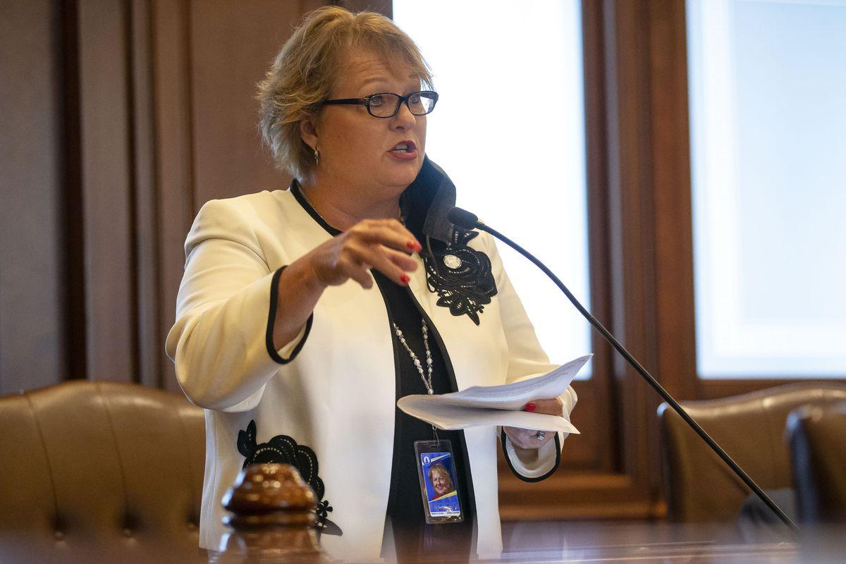 State Sen. Terri Bryant, R-Murphysboro, speaks on the floor of the Illinois Senate earlier this month.