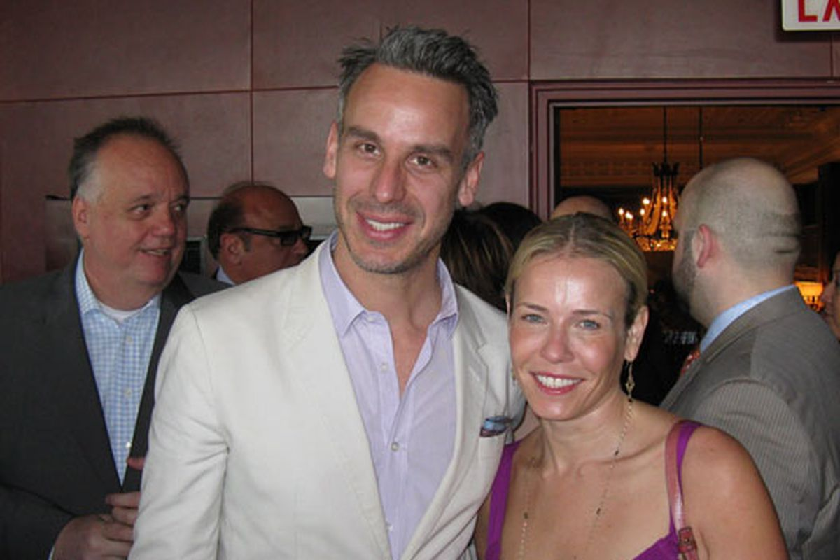 Bon Appetit editor Adam Rapoport and Chelsea Handler (with Spiaggia's Tony Mantuano in the background)