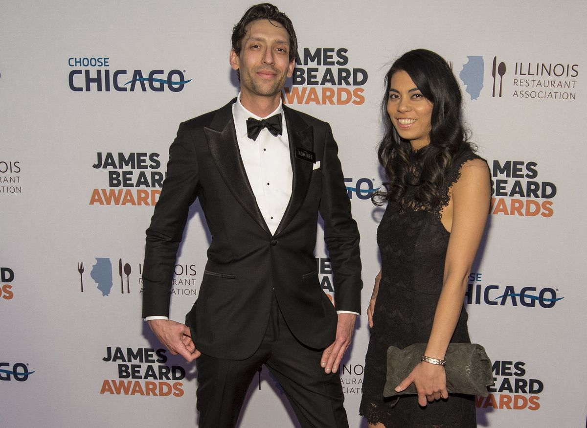Abe Conlon and Adrienne Lo on the red carpet of the 2020 James Beard Awards in Chicago.