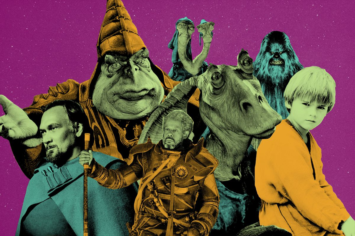 A collage of 'Star Wars' characters against a purple background