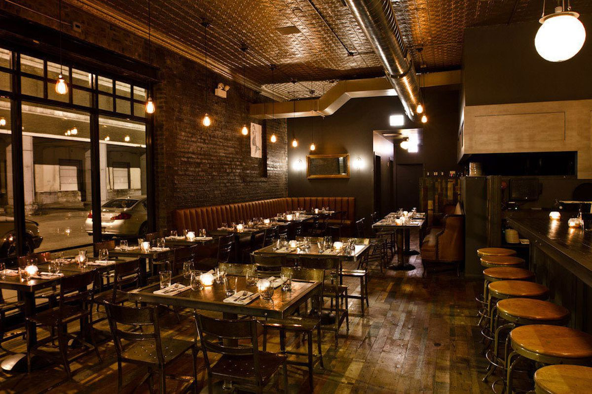 Reclaimed wood and other materials were used throughout the restaurant