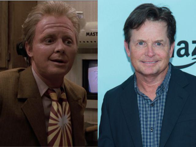 """Marty McFly in """"2015""""; Michael J. Fox in 2015"""