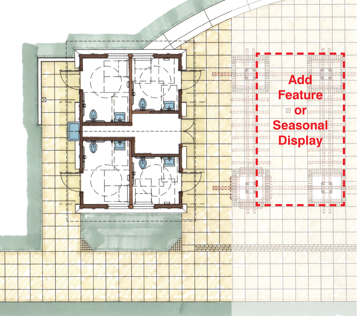 A concept drawing for the Cal Anderson Par comfort station with four large single-occupancy restrooms.