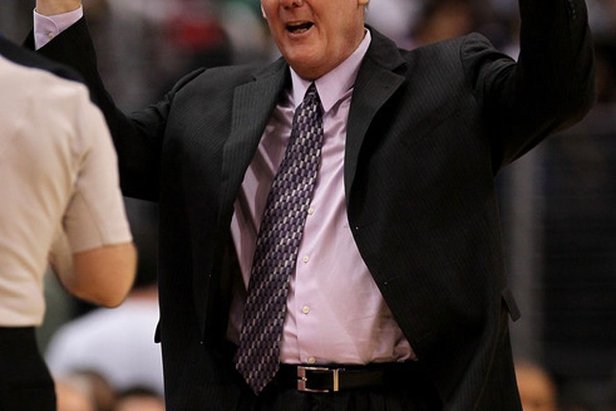 Head coach George Karl of the Denver Nuggets complains to an official duirng the game with the Los Angeles Clippers at Staples Center on March 5, 2011. in Los Angeles, California.