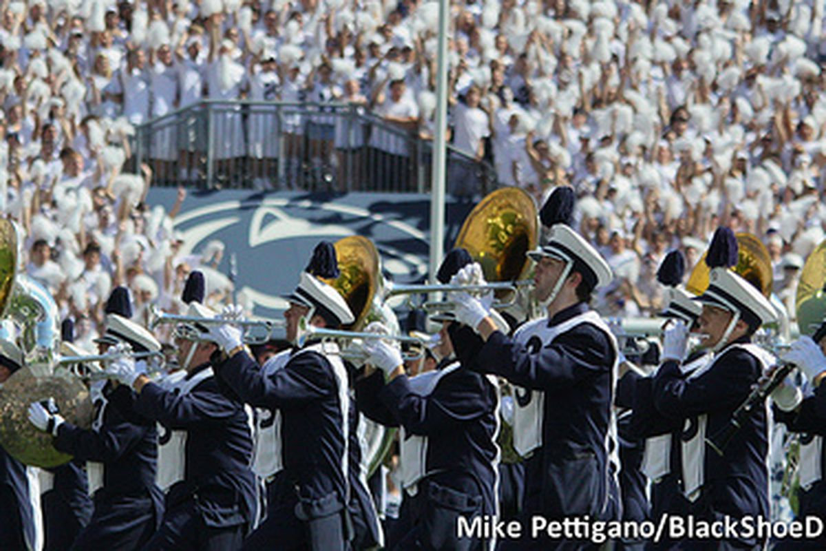 """No, Penn State, pregame/halftime/postgame do NOT count toward your """"7 to 1"""" Blue Band to PA music ratio."""