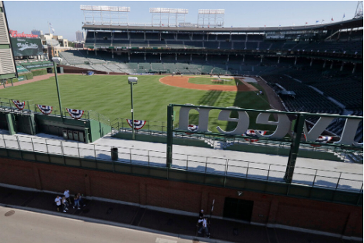 A view of a fan-less Wrigley Field before the Cubs' opening game July 24 against the Brewers.
