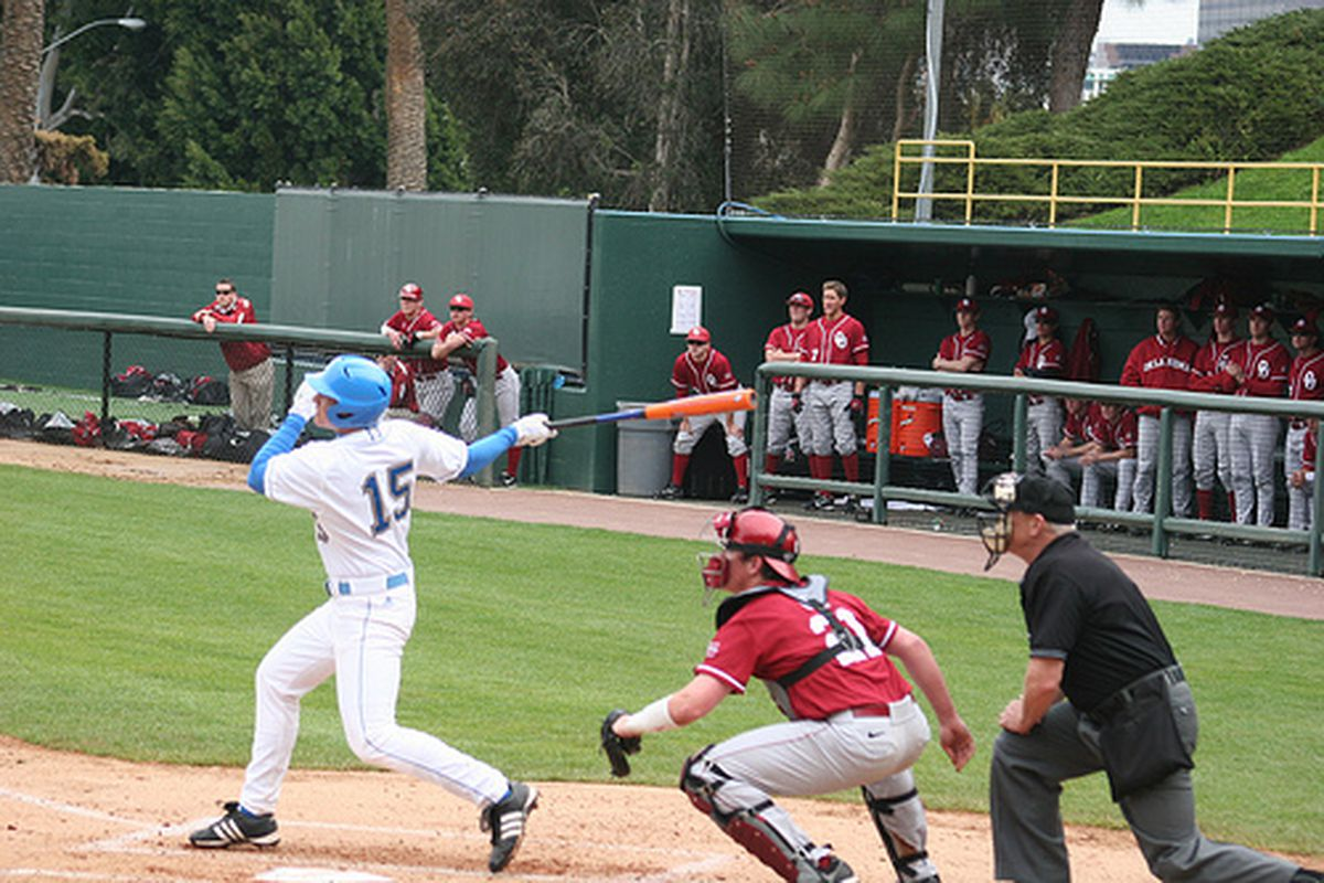 <em>Justin Uribe and his team-mates will try to extend the season this evening at JRS. Photo Credit: UCLA baseball (flickr)</em>