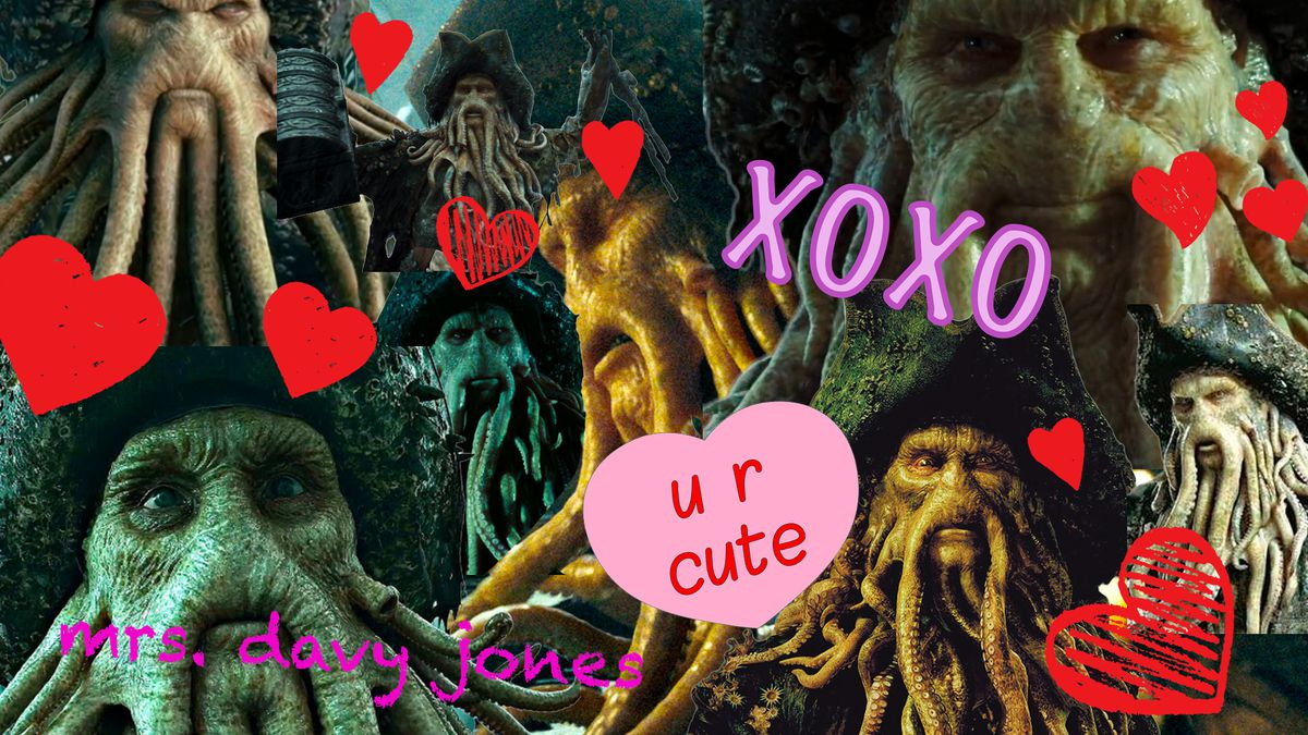 """Photo montage feature still images of the character Davy Jones from the movie Pirates of the Caribbean with hearts and """"u r cute"""" signs"""
