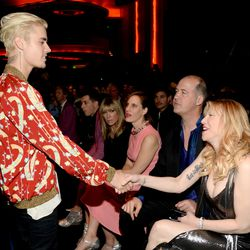 Justin Bieber and Courtney Love at Saint Laurent. Photo: Kevin Mazur/Getty Images