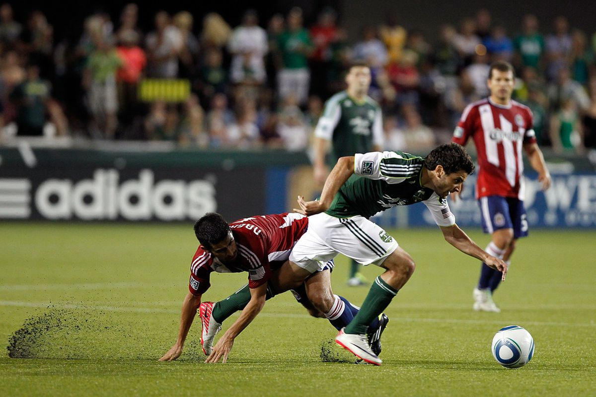 PORTLAND, OR - AUGUST 24:  Yeah, this is like a photographic metaphor of Chivas' performance.  (Photo by Jonathan Ferrey/Getty Images)