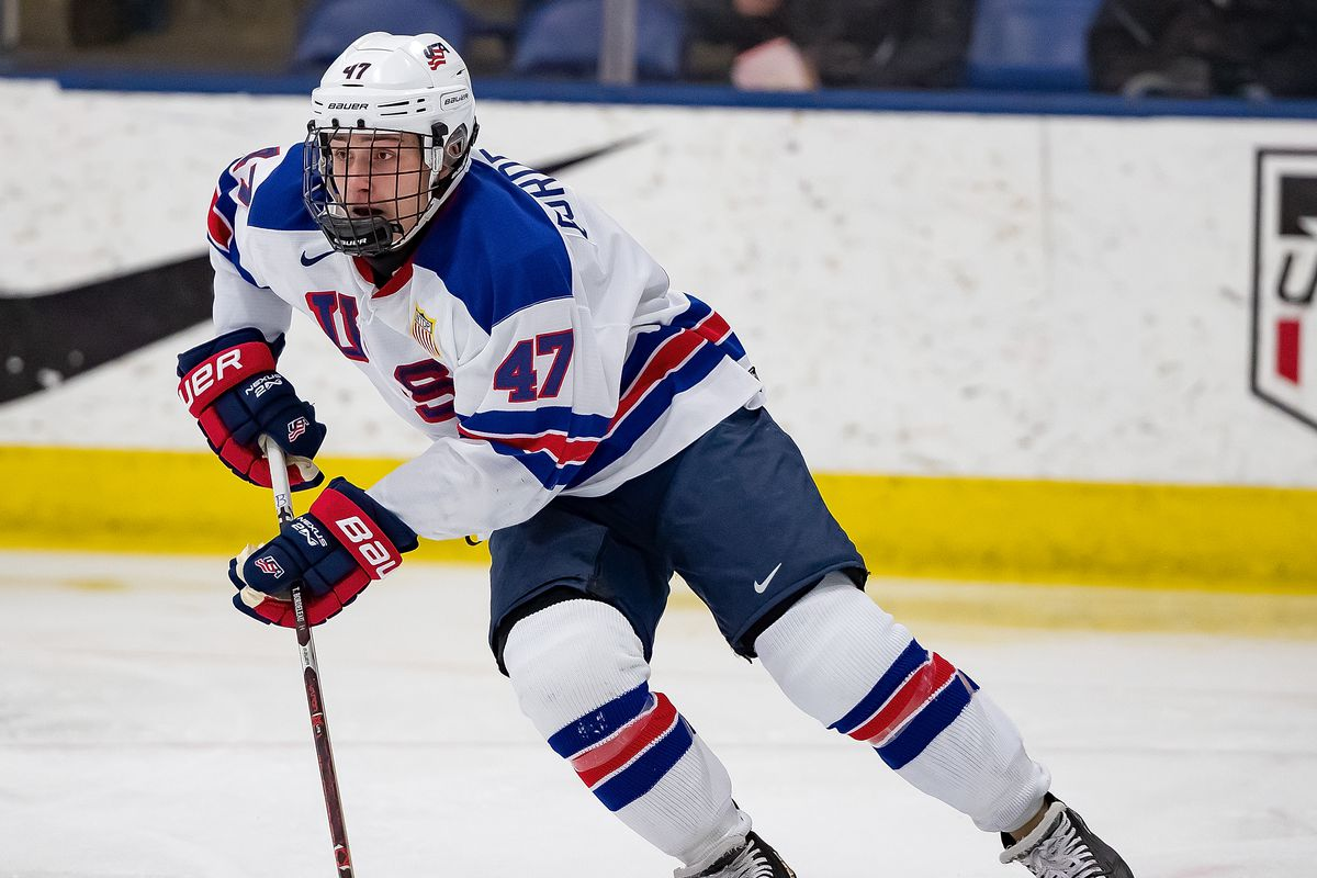 PLYMOUTH, MI - DECEMBER 11: Thomas Bordeleau #47 of the U.S. Nationals turns up ice with the puck against the Slovakia Nationals during game two of day one of the 2018 Under-17 Four Nations Tournament game at USA Hockey Arena on December 11, 2018 in Plymouth, Michigan. USA defeated Slovakia 7-2.