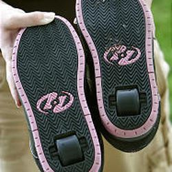 Kids can walk or roll on Heelys, which have a wheel in heel.