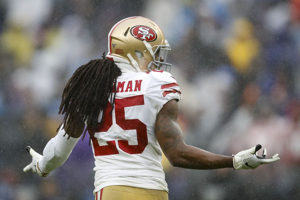 Richard Sherman of the San Francisco 49ers reacts to a play against the Baltimore Ravens during the first half at M&T Bank Stadium on December 1, 2019 in Baltimore, Maryland.
