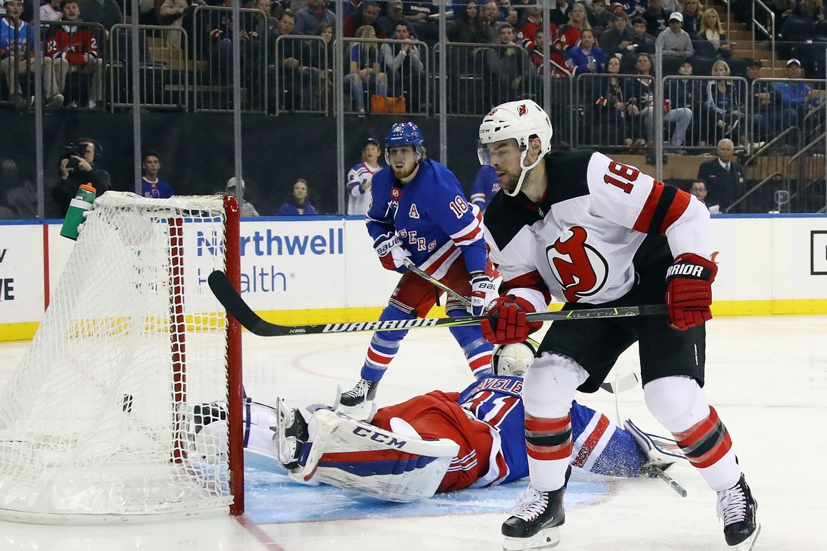 New jersey devils edged the hated new york rangers 3 2 all about the aftermath of a glorious first goal as a devil from drew stafford photo by bruce bennettgetty images geenschuldenfo Image collections