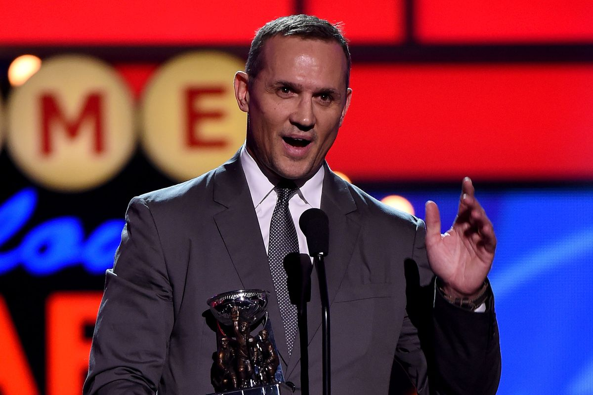 Steve Yzerman accepting the GM of the Year award. Signing Stamkos and keeping the Lightning intact may earn him a few more of these trophies.