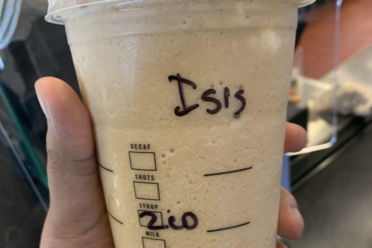"""Starbucks cup with """"ISIS"""""""